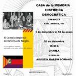 Exposición EL CONSEJO REGIONAL DE DEFENSA DE ARAGON, en la sede de la Casa de la Memoria Histórica Democrática de Zaragoza